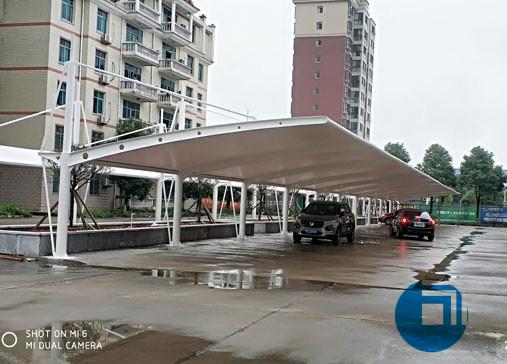 停车棚膜结构-湖南某公司膜结构停车棚
